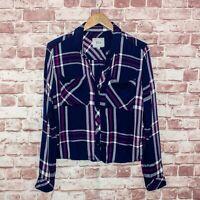 Rails Women's Button front Flannel Hunter Shirt Blue Purple Plaid Sz Small