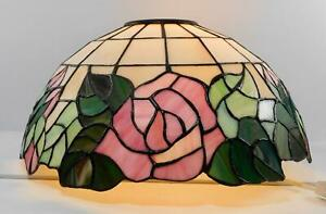 Tiffany Style Stained Glass Table lamp Shade Pink Flowers Green leaves Alabaster