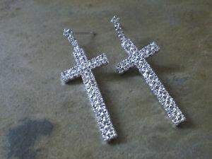 Damen Ohrringe Ohrstecker Kreuz Strass Farbe Silber 1984