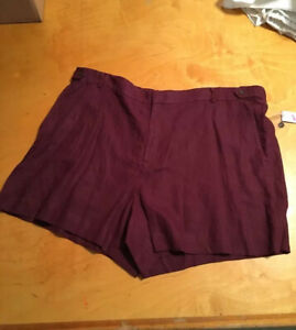 $80 Women's plus 24W  shorts mulberry linen lord & taylor's P200 AAA