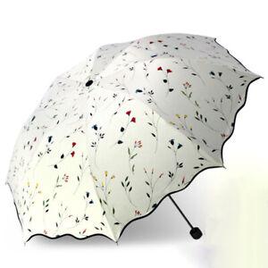 Femmes 3 Parapluie Pliant Fleur Anti-UV Soleil Protection Parasol Parasol ExtérB