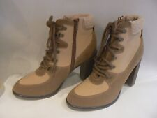 MARKS & SPENCER Faux Suede Canvas Lace Up Ankle Boots Insolia UK Size 8 NEW