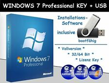WINDOWS 7 PROFESSIONAL KEY - 32/64 Bit - WIN 7 PRO + USB Stick (bootfähig) *NEU*