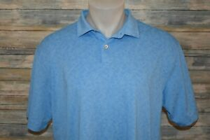 PETER MILLAR XL Men's S/S Poly Spandex Golf Polo Shirt Blue Paisley Print