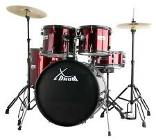 """XDRUM 22"""" FULL DRUM SET DRUM KIT INCL. CYMBALS STANDS DRUM THRONE DVD RED NEW"""