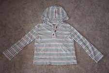 Gymboree Prep School Apple Striped Hooded Top Shirt 7 EUC Girls