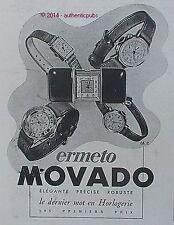 PUBLICITE MONTRE MOVADO ERMETO ELEGANTE ROBUSTE PRECISE DE 1943 FRENCH AD WATCH