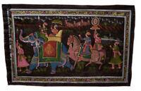 Parete Pittura Mughal Su Seta Arte Elefante India 73x47cm 32