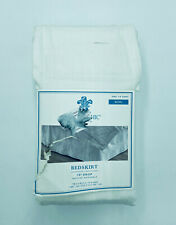 """Simply Shabby Chic King Bed Skirt White 15"""" Drop Cotton Blend Floral Detail New"""