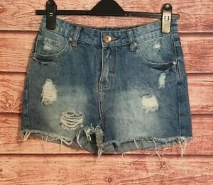 Ladies SHORTS Size 8 DENIM Hot Pants Blue FRAYED/DISTRESSED Summer Holiday VGC