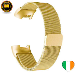 Gold Milanese Strap For Fitbit Charge 3 4 Steel Watch Band Loop SMALL / LARGE
