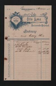 ZEULENRODA, Rechnung 1907, Otto Lenz Lampen Glashütten-Fabrikate