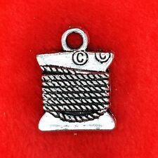 4 x Tibetan Silver Silk Cord Thread Sewing Charm Pendant Finding Beading Making