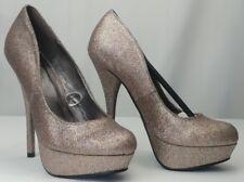 Sheikh High Heels Shoes Size 5.5 Pink Glitter Platform Stiletto 5 Inch Heels