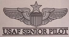 Window Bumper Sticker Military Air Force Senior Pilot Wings NEW Decal with text