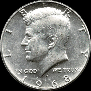 """A 1968 D Kennedy Half Dollar 40% SILVER US Mint """"About Uncirculated"""""""