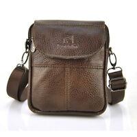 Men Women Genuine Leather Small Shoulder Bag Cross Body Handbag Flap Purse Pouch