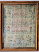 18TH CENTURY Mourning Needlepoint Textile Verse SAMPLER BY Mary Manning Flowers