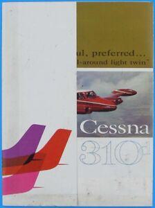 Cessna Aircraft 310d 1960 Light Twin Original Color Airplane Dealer Brochure