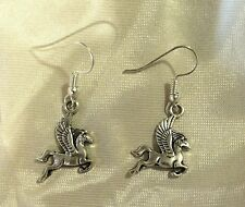 2 Pairs Antiqued Silver Pegasus Earrings Sp French Hooks Flying Horse Cool Gift!