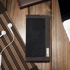 iPhone 6 6s borsa astuccio COVER CASE JEANS PELLE NERA SINTETICO COPERTURA
