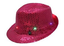 Smiffys Pink Sequin Trilby Hat Light Up LED Gangster Fancy Dress Accessory