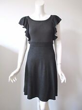 Anthropologie Free People Light Black Wide Neck Sexy Back Ruffle Sweater Dress S