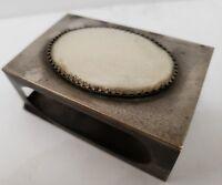 Vintage / Antique Match Box Book Cover Silver Tone, Big Oval Stone Case  3 X 2