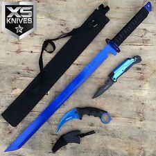 3pc Blue Ninja Sword Multi-Function Pocket Knife Survival Karambit Knife Set