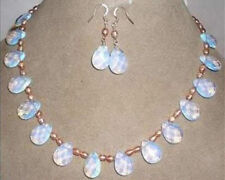 Real natural Pink pearl & opal necklace & earring jewelry set 18""