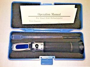 Portable Hand Held Salinity Refractometer, ATC, with Case and Accessories