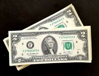 Two Dollar Bill $2 Notes, 2013  ***Consecutive numbers ***(SIX BILLS)