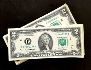 Two Dollar Bill $2 Notes, 2013  ***Consecutive numbers ***(FIVE BILLS)