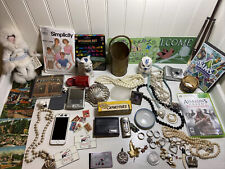 Vintage Junk Drawer Lot Coin Jewelry Post Cards Doll Phone Camera Games Lighters