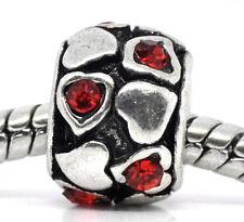 Red July Birthstone Rhinestone Hearts Spacer Bead for European Charm Bracelets
