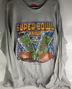 Vintage Super Bowl XXXVII (Raiders vs Buccaneers) NFL XL Long Sleeve Gray Shirt