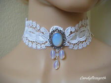 White scalloped guipure lace opalite bead CAMEO choker  bridal party victorian