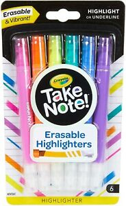 Crayola Take Note Pack of 6 Erasable Highlighters. Erasable & Vibrant   #401