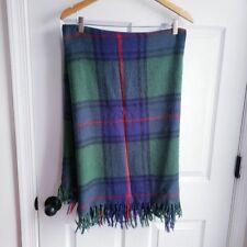 Vintage Plaid Fringe Throw 50x58 Blue Green Blanket