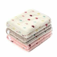 """1 Pack 3 Blankets Super Soft Cute Dot Pattern Small(23*16"""") Beige/Brown/Pink"""