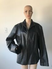 Vintage 1990's Ashley Stewart Black Genuine Leather Jacket Coat Zipper Front Xl