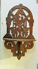 Antique Gothic Masonic Wooden Wall Trinket Shelf Walnut Wood Ornate Mason