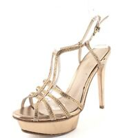 Pelle Moda Champagne Leather Jeweled Strappy Sandals Heels Women's Size 6.5 M*
