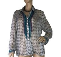 LIZ DEVENPORT SIZE 18 SEMI SHEER GEOMETRICAL STYLE SHIRT