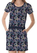 Navy Blue Circle Pattern Women T-Shirt Tee Top Dress With Pockets