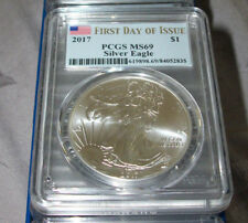 (1) 2017 * Silver Eagle PCGS MS69 ****First Day Of Issue****Flag Label***