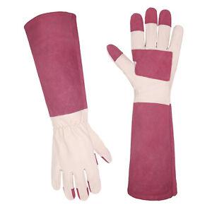 1/2/3 Pairs Women Long Thorn Proof Gardening Gloves Pigskin Leather Gauntlet