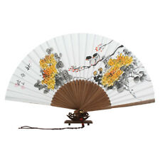 Hand Painted Folding Paper Yellow Flower Painting Wall Bamboo Handheld Art Fan