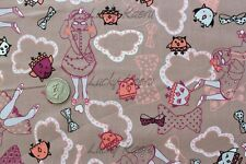 SALE Marie Jacobi Yuwa Trip To Wonderland Brown Mauve Japanese Fabric Half Yard