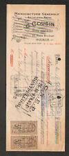 """PARIS (X°) USINE d'ARTICLES en Métal pour FUMEUR """"G. COUSIN"""" Timbre Affiche 1925"""